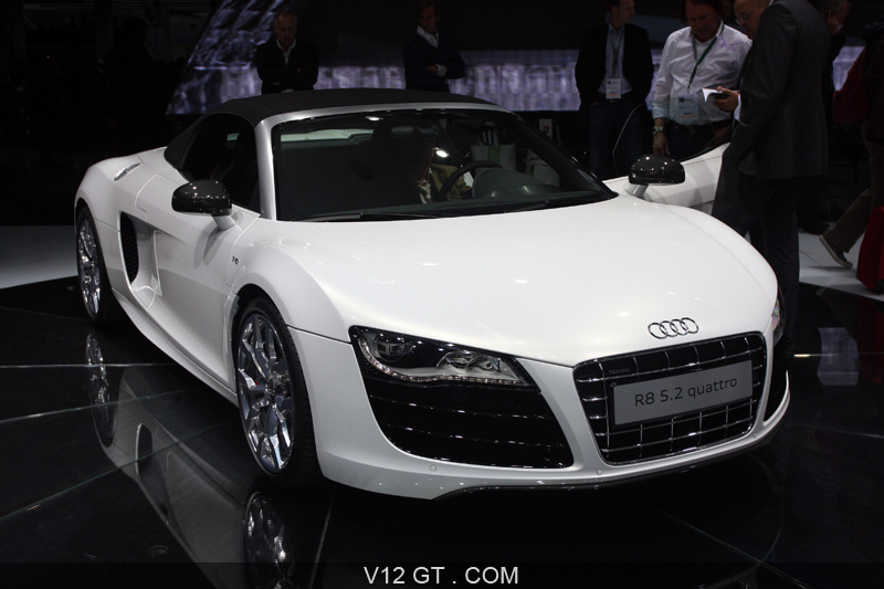 audi r8 spyder v10 blanche 3 4 av salon de francfort iaa 2009 photos salons les plus. Black Bedroom Furniture Sets. Home Design Ideas