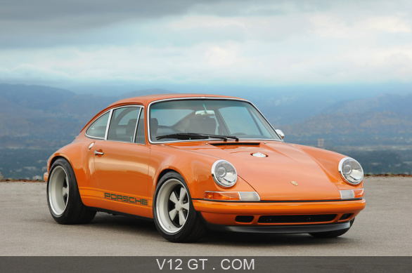 porsche 911 singer orange 3 4 avant droit arri re plan porsche photos classic les plus. Black Bedroom Furniture Sets. Home Design Ideas