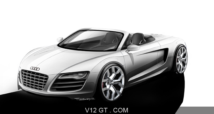 audi r8 spyder blanche dessin 3 4 avant gauche audi photos gt les plus belles photos de gt. Black Bedroom Furniture Sets. Home Design Ideas