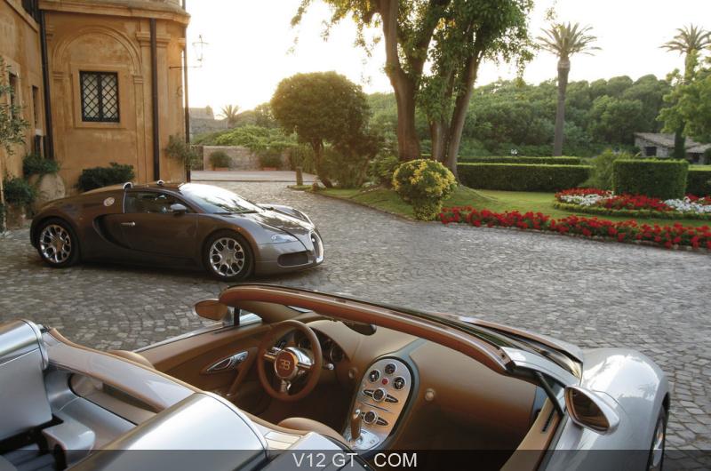Bugatti Veyron Grand Sport gris intérieur & marron 3/4 avant droit ...