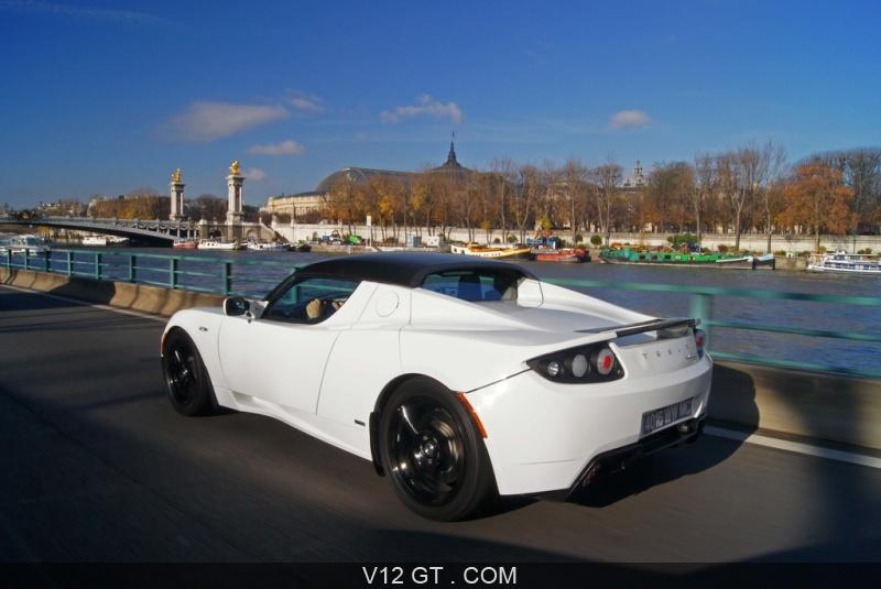 Tesla Roadster Sport blanc 3/4 arrière gauche travelling ...
