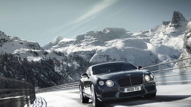 Bentley Continental GT V8 anthracite 3/4 avant droit travelling penché