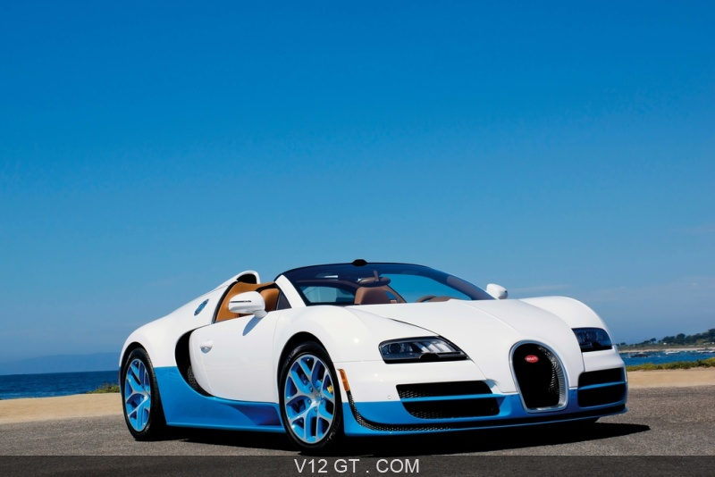 bugatti veyron grand sport vitesse blanc bleu 3 4 avant droit pench 3 bugatti photos gt. Black Bedroom Furniture Sets. Home Design Ideas