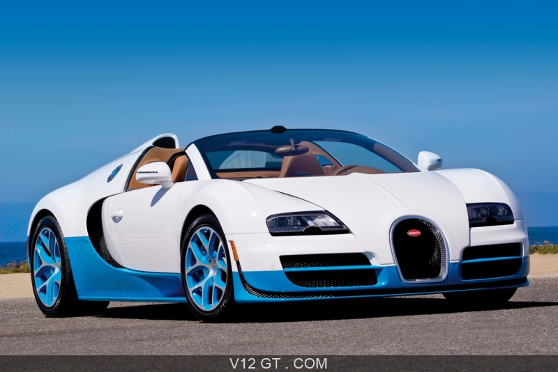 bugatti veyron grand sport vitesse blanc bleu 3 4 avant droit pench 4 bugatti photos gt. Black Bedroom Furniture Sets. Home Design Ideas