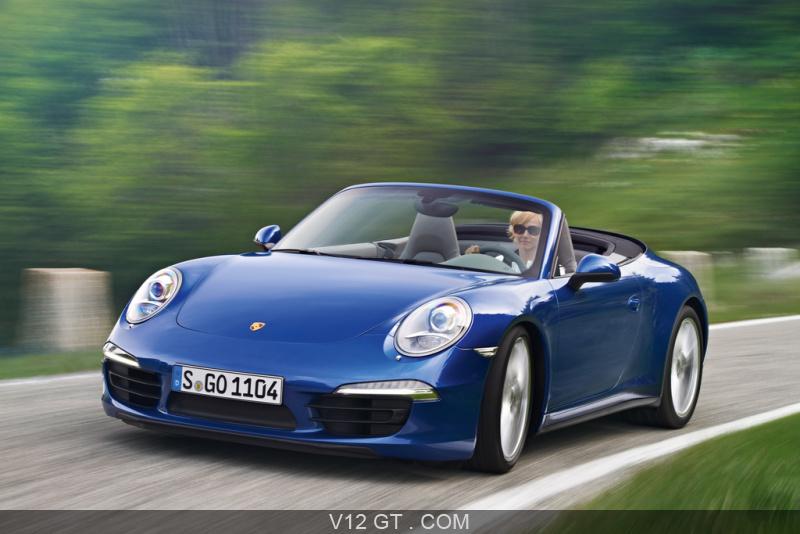 Porsche 991 Carrera 4 Cabriolet Bleu 3 4 Avant Gauche